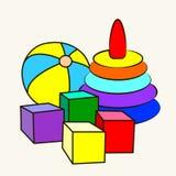 Beeldverhaal vectorillustratie van leuk speelgoed Stock Foto