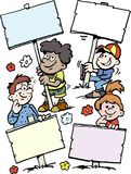 Beeldverhaal Vectorillustratie van van sommige gelukkige kinderen die tekens houden Royalty-vrije Stock Foto