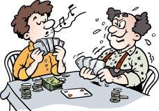 Beeldverhaal Vectorillustratie van twee Mensen die Pook spelen Royalty-vrije Stock Afbeeldingen
