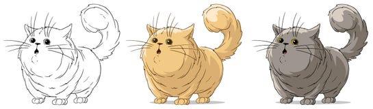 Beeldverhaal verraste de koele status grote katten vectorreeks stock illustratie