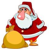 Beeldverhaal verraste Santa Claus met een zak van giften Stock Afbeeldingen