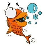 Beeldverhaal verraste vissen op witte achtergrond stock illustratie