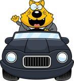 Beeldverhaal Vette Cat Driving Waving vector illustratie