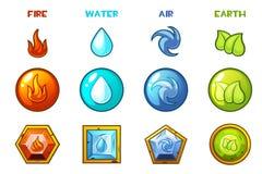 Beeldverhaal vier natuurlijke elementenpictogrammen - Aarde, Water, Brand en Lucht royalty-vrije illustratie