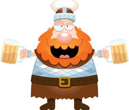 Beeldverhaal Viking Drinking Beer vector illustratie