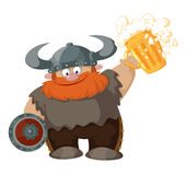Beeldverhaal Viking met bier Stock Foto's