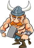 Beeldverhaal Viking met een grote hamer Stock Afbeeldingen