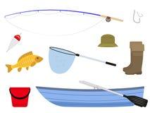 Beeldverhaal visserijfaciliteiten, toebehorenvisser vector illustratie