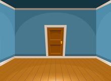 Beeldverhaal vlakke lege ruimte met een deur in blauwe stijl Stock Foto
