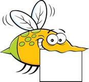 Beeldverhaal vliegend insect die een teken houden Stock Fotografie
