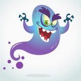 Beeldverhaal vliegend monster Vectorhalloween-illustratie van het glimlachen van purper spook met omhoog handen Stock Foto's