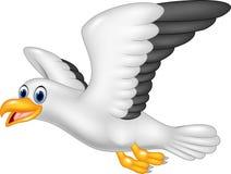 Beeldverhaal vliegende die zeemeeuw op witte achtergrond wordt geïsoleerd Stock Foto