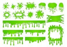 Beeldverhaal vloeibaar slijm De groene dalingen van de gooverf, de griezelige plonsgrens en eng Halloween bevlekken vectorreeks royalty-vrije illustratie