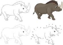 Beeldverhaal voorhistorische rinoceros Vector illustratie Punt aan punt Stock Afbeeldingen