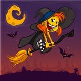 Beeldverhaal vrij grappige heks die op haar bezem vliegen De vector geïsoleerde illustratie van Halloween Stock Foto