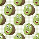 Beeldverhaal Vrolijk Kiwi Seamless Pattern Royalty-vrije Stock Afbeeldingen