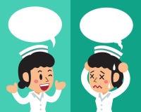 Beeldverhaal vrouwelijke verpleegster die verschillende emoties met toespraakbellen uitdrukken stock illustratie