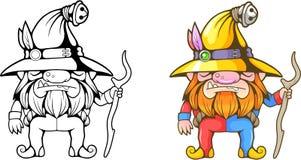 Beeldverhaal weinig dwerg, grappige kleurende illustratie Royalty-vrije Stock Afbeeldingen
