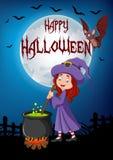 Beeldverhaal weinig heks die drankje met Halloween-achtergrond voorbereiden Royalty-vrije Stock Fotografie