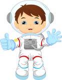 Beeldverhaal weinig jongen die astronautenkostuum dragen stock illustratie