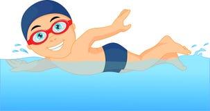 Beeldverhaal weinig jongenszwemmer in het zwembad Stock Fotografie
