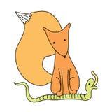 beeldverhaal weinig vos met toespraakbel Royalty-vrije Stock Afbeelding