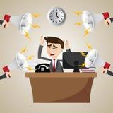 Beeldverhaal werkende zakenman met lawaaierige megafoon Stock Foto