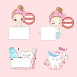 Beeldverhaal woamn met tanden vector illustratie