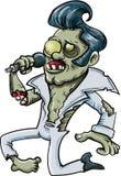 Beeldverhaal zingende zombie Elvis Stock Fotografie