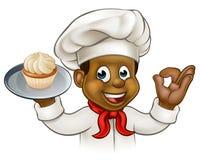 Beeldverhaal Zwarte Baker of Gebakjechef-kok Stock Fotografie