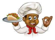 Beeldverhaal Zwarte Chef-kok met Kebab Stock Afbeeldingen