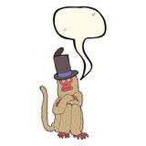 beeldverhaalaap die hoed met toespraakbel dragen Stock Foto