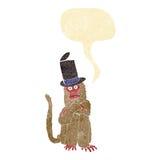 beeldverhaalaap die hoed met toespraakbel dragen Royalty-vrije Stock Afbeelding