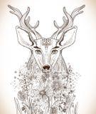 Beeldverhaalachtergrond met herten en bloemen Stock Afbeeldingen
