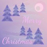 Beeldverhaalachtergrond met Kerstbomen, sneeuwstorm Tekst Vrolijke Kerstmis royalty-vrije illustratie