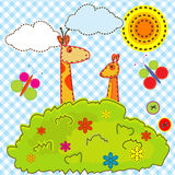 Beeldverhaalachtergrond voor jonge geitjes met giraf en kangoeroe Royalty-vrije Stock Foto's