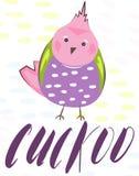 Beeldverhaalaffiche met mooie exotische tropische vogels vectorpapegaai, amadina De kaart heldere roze van krabbelvogels, rood, g stock illustratie