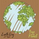 Beeldverhaalaffiche van Eco-Ontwerp voor Aardedag, Vectorillustratie Royalty-vrije Stock Afbeelding