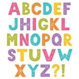 Beeldverhaalalfabet, brieven met gestempelde textuur royalty-vrije stock afbeelding