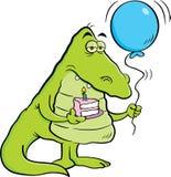 Beeldverhaalalligator die een stuk van cake en een ballon houden Royalty-vrije Stock Foto