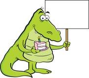 Beeldverhaalalligator die een stuk van cake en een teken houden Royalty-vrije Stock Foto's