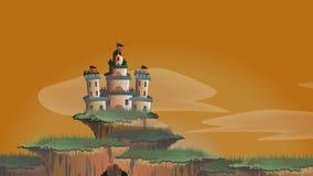 Beeldverhaalanimatie van een kasteel van de sprookjefantasie op de drijvende eiland nevelige wereld met timelapse die van unti va royalty-vrije illustratie