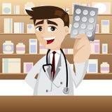 Beeldverhaalapotheker met pak van geneeskunde Royalty-vrije Stock Foto