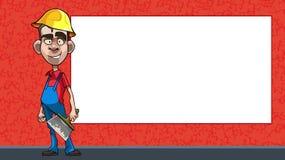 Beeldverhaalarbeider met een spatel op de achtergrond van een leeg aanplakbord vector illustratie