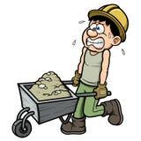 Beeldverhaalarbeider met kruiwagen stock illustratie