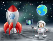 Beeldverhaalastronaut en uitstekende ruimteraket op de maan Stock Afbeelding