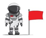 Beeldverhaalastronaut met een vlag. Vectorillustratie Stock Foto
