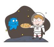 Beeldverhaalastronaut Presenting een Pizza aan Vreemde Vectorillustratie vector illustratie
