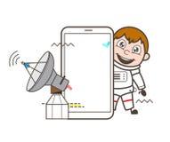 Beeldverhaalastronaut Presenting Satellite en Smartphone-Technologie Vectorillustratie stock illustratie