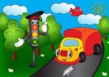 Beeldverhaalauto met verkeerslichten Stock Afbeeldingen